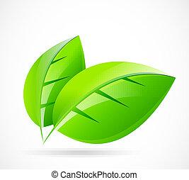 vektor, grønne, begreb, blad
