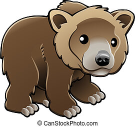 vektor, grizzly, brun fød, cute, illustration