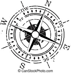 vektor, grunge, kompas