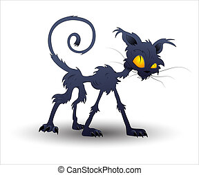 vektor, halloween, kat