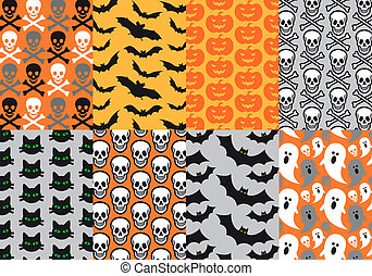 vektor, halloween, seamless, mønstre