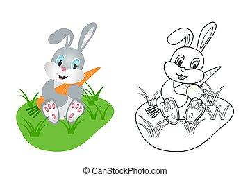 vektor, hare, image, coloring, børn, bog