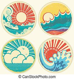vektor, hav, sol, waves., seascape, iconerne, vinhøst, illustration