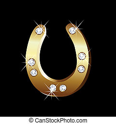 vektor, horseshoe, guld, ikon