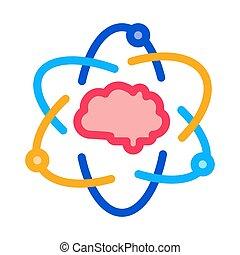 vektor, ikon, illustration, menneskelig hjerne, udkast, atom