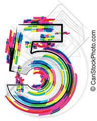 vektor, illustration., antal, illustration, 5., font