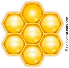 vektor, illustration, honeycomb