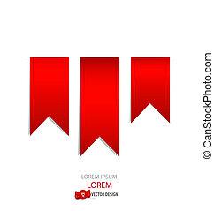 vektor, illustration., rød, ribbons.