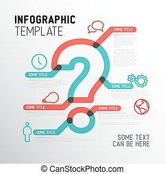 vektor, infographic, spørgsmål, skabelon, mærke
