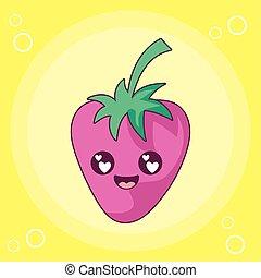vektor, jordbær, cartoon, kawaii, konstruktion