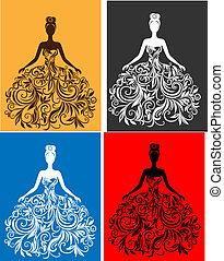 vektor, klæde, kvinde, silhuet, unge