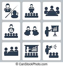 vektor, konference, sæt, møde, iconerne