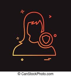 vektor, konstruktion, avatar, kvindelig, ikon