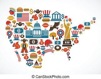 vektor, kort, mange, amerika, iconerne