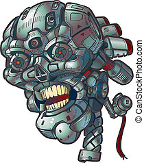 vektor, kunst, robot, hæfte, kranium