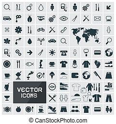 vektor, lejlighed, sæt kvadratiske, iconerne