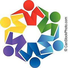 vektor, logo, klemme, teamwork, folk