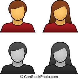 vektor, mandlig, avatar, kvindelig, iconerne