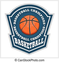 vektor, mesterskab, emblem, -, t-shirt, basketball
