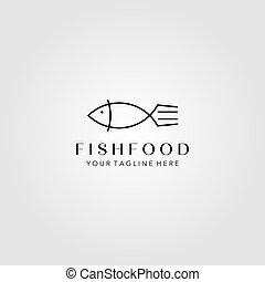 vektor, minimalist, gaffel, illustration, fish, kunst, konstruktion, beklæde, symbol, logo