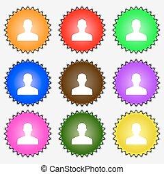 vektor, person, tegn., log, bruger, ikon, sæt, farvet, forskellige, labels., ni