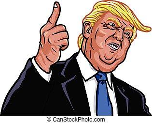vektor, portræt, donald, præsident, 45th, trumf, forenede stater, illustration