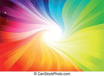 vektor, regnbue, starburst, farvet