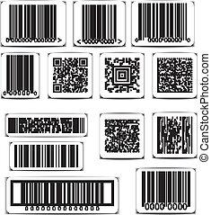 vektor, sæt, barcode, etikette