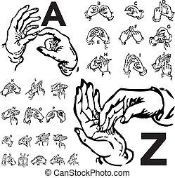 vektor, sæt, breve, sprog, tegn