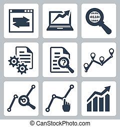 vektor, sæt, data, analyse, iconerne