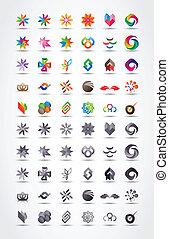 vektor, sæt formgiv, elementer, ikon
