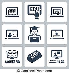 vektor, sæt, undervisning, online, iconerne