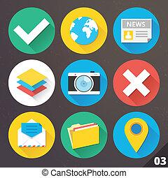 vektor, sæt, web., 3., iconerne