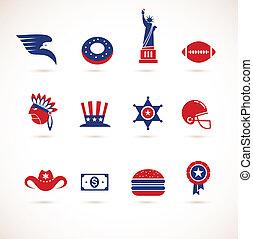 vektor, -, samling, united states, iconerne