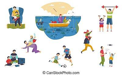 vektor, sammen, illustration, spend, isoleret, bogstaverne, tid, folk, sæt, far, søn, cartoon, glade
