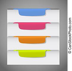 vektor, side, udkant, stickers, illustration