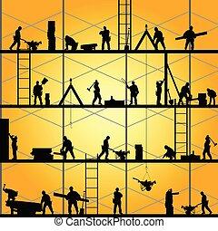 vektor, silhuet, arbejde, arbejder, illustration, konstruktion