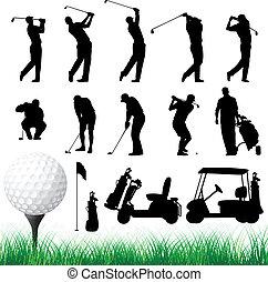 vektor, silhuetter, golfer