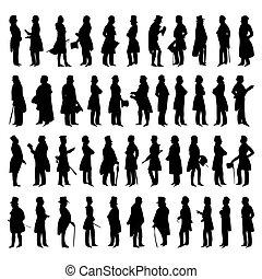 vektor, silhuetter, mænd, suits., illustration