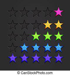 vektor, skinnende, stjerner