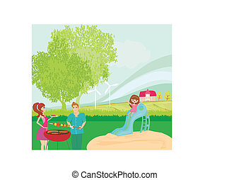 vektor, skovtur, illustration, familie, har