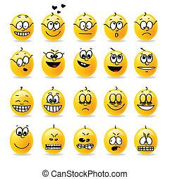 vektor, smiley, stemninger, emotions