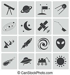 vektor, sort, arealet, sæt, iconerne
