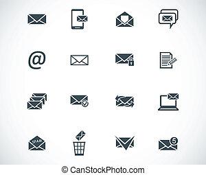 vektor, sort, email, sæt, iconerne