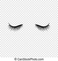 vektor, sort, falsk, transparent, baggrund, isoleret, illustration, eyelashes.