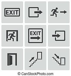 vektor, sort, sæt, udgang, iconerne