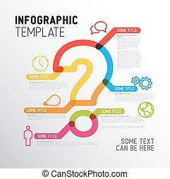 vektor, spørgsmål marker, infographic, skabelon, rapport