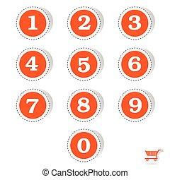 vektor, stickers, antal, illustration, rød