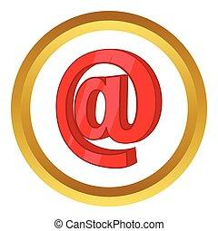 vektor, tegn, email, rød, ikon
