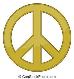 vektor, tegn, fred, guld, /